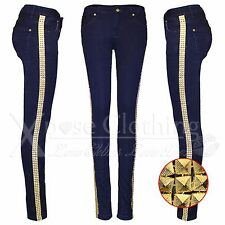LADIES GOLD STUD SIDE BLUE SKINNY JEANS STRETCH WOMENS DISTRESSED DENIM PANTS