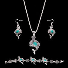 Boho Fish Crown Carved Turquoise Necklace Earrings Bracelet Jewelry Set Little