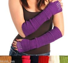 Silver-Tone Metallic Studded Fingerless Gloves/Arm Warmers OS 3 Colors