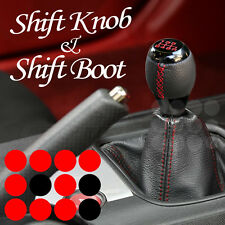 90-11 VOLKSWAGEN JETTA RED STITCH BOOT LEATHER & MANUAL BLACK 6 SPEED SHIFT KNOB