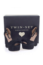 Twin-Set Sandals Shoes -40% Leather MADE IN ITALY Woman Blacks CS6PBD-697