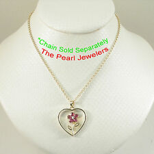 14k Yellow Solid Gold Heart Design Genuine Rubies and Diamond Pendant TPJ