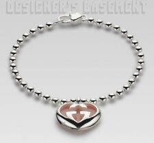 GUCCI Sterling Silver pink OPAL Interlocking G HEART Bracelet NWT Authentic $495