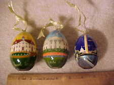 3 RUSSIAN Lacquered EGGS--White House, Washington Monument & Mt. Vernon