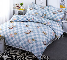 Grid Single Queen King Size Bed Pillowcase Quilt Cover Duvet Cover Set