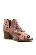 PINK BLUSH Perforated SLIT OPEN TOE Booties Shoes Stacked Heels Ankle Peep 5-10