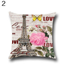 Vintage Flower Building Pattern Pillow Case Home Decor Sofa Throw Cover Fashion