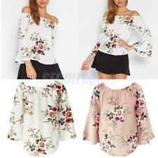 Vintage Women Casual Floral Off Shoulder Bell Sleeve Chiffon Blouse Shirt Tops