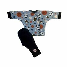 Baby Boys' Blue Sports Balls 2 Piece Clothing Outfit 4 Preemie and Newborn Sizes