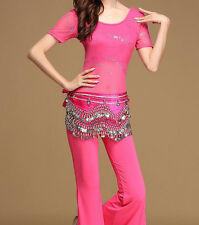 Womens Lace Oriental Belly Dance Costume Set Indian Dancing Tops Flare Pants