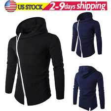 New Men's Hoodies Slim Long Sleeve Oblique Zipper Jackets Coats Outwear Tops