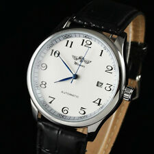 New Automatic Watch Date Sport Faux Leather Band Mens Mechanical Analog Wrist_US