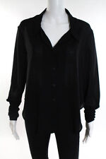 Theyskens Theory Black Silk Collared V Neck Button up Blouse Size Petite