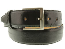 Mens Black Real EEL Skin Smooth Leather Cowboy Western Belt Exotic Silver