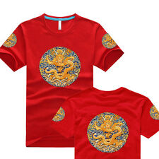 ORIENTAL COOL! 100% COTTON CALICO T-SHIRT: CHINESE ROYAL DRAGON ROBE STYLE RED