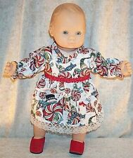 """Doll Clothes fit American Girl 15"""" inch Dress Red Bitty Holiday Snowmen Candy"""