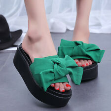 Fashion Womens Sandals Bowknot Sandals Mules Slippers Platform Wedge Heels Shoes