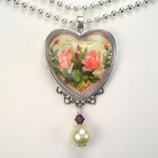 Pink Rose Heart Necklace Graphic Art Jewelry Handmade Vintage Charm
