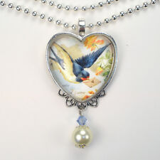 Bluebird Love letter Necklace Bird Pendant Vintage Charm Graphic Art Jewelry