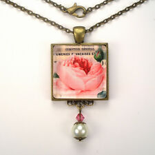 "FRENCH PINK ROSE ""VINTAGE CHARM"" BRONZE OR SILVER ART GLASS PENDANT NECKLACE"