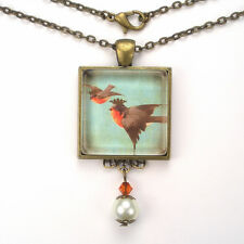 RED ROBIN BIRD WITH CROWN 'VINTAGE CHARM' ART GLASS PEARL PENDANT NECKLACE