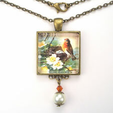 "ROBIN BIRD NEST EGG ART GLASS PEARL PENDANT NECKLACE ""VINTAGE CHARM"" JEWELRY"