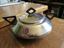 Vintage Art Deco Chrome jam / preserve pot, Typical Art Deco handles.