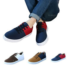 Men Comfy Casual Lace-up Canvas Flat Board Boat Shoes Sneakers Mixed-color