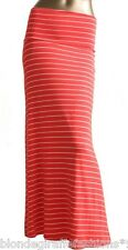 Coral/Ivory Narrow Stripe Wide Fold Over Double High Waist Retro Maxi Skirt