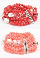 """D0339 6Row 8"""" 4mm Pink & Red round Coral White Baroque pearl Bracelet Magnet"""