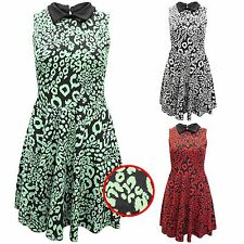 NEW LADIES LEOPARD SWING DRESSES WOMENS SLEEVELESS PETER PAN COLLAR FULL SKIRT