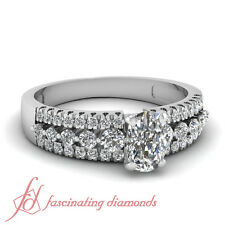 Engagement Ring Pave Set 1.10 Ct Cushion Cut SI2-F Color Diamond GIA Certified