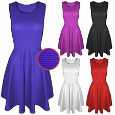NEW LADIES SKATER DRESS WAFFLE TEXTURED WOMENS FLOATY SKIRT LOOK DRESSES TOP