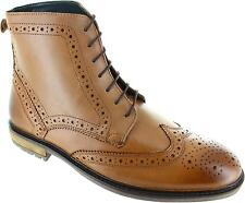 Silver Street 13396 Men's Tan Lace Up Leather Ankle Wingtip Brogues Boots New