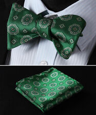 BF326G Green Floral Woven Men 100% Silk Classic Self Bow Tie Pocket Square set