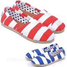 Japan Stripes Shoes Womens Loafers Mens Summer Ladies Flats UK sz 2 3 4 5 6 7