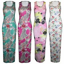 NEW LADIES FLORAL PRINT MAXI DRESS WOMENS RACER BACK VEST TOP LONG SKIRT DRESSES
