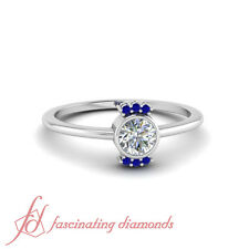Round Blue Sapphire Promise Ring Bezel Set 1/4 Ct Round Cut Diamond 14K Gold