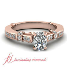 .80 Ct Cushion Cut Untreated Diamond 14K Rose Gold Engagement Ring For Her GIA