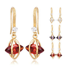 Girls Womens Leaf Dangle Earrings Hook Cubic Zirconia Yellow Gold Plated Round