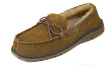 Rockport Men's Cinnamon Suede Faux Fur Lined Moccasin Slippers Shoes Ret $75 New