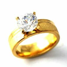 Womens 14K gold filled Crystal Crystal Wedding Band Ring Gifts Size 6 7 8 9