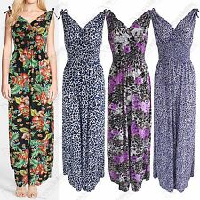 NEW WOMENS FLORAL LEOPARD PRINT V NECK MAXI DRESS LONG LADIES GRECIAN TIE DRAPE