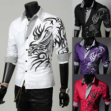 Mens Stylish Casual Slim Fit Tattoo Long Sleeve Dress Shirt Formal Shirt Tops