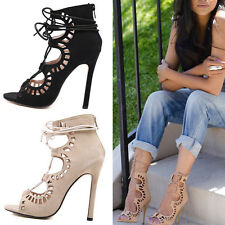 Gladiator Women High Heel Strappy Lace Hollow Stiletto Pump Sandals Peep Shoes