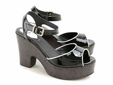 Fendi cork wedges ankle strap sandals in black patent leather made in Italy