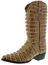 mens rustic beige alligator tail print exotic print western cowboy riding boots
