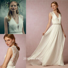 2017 Summer Beach Wedding Dresses Chiffon White Ivory A Line Bridal Gowns Custom