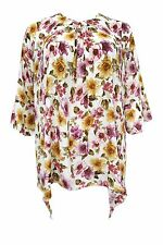 New Emily Bell Sleeve Yellow Pink Floral Hanky Hem Tunic Top Plus Size 16 - 26