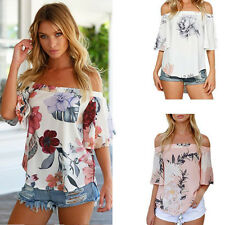 Boho Hippie Women Off Shoulder Floral Printed Chiffon Loose Top Blouse T Shirt